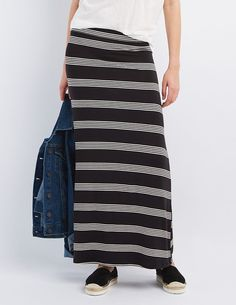 Black Striped Maxi Skirt by Charlotte Russe