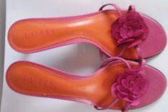 Ralph Lauren pink teal leather slide pump sandal shoes sz. 10  #LaurenRalphLauren #Slides