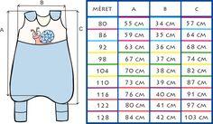 Tipegőhálózsák mérettáblázat