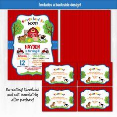 Invitaciones de la granja granja parte etiquetas por SugarShebang