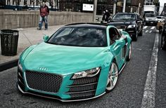 Teal paint Audi R8 custom body kit