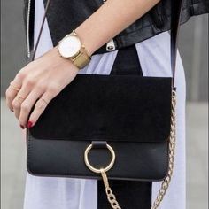 Host Pick Small shoulder bag with Gold detail Bag was worn once, comes with dust bag. Jessica Buurman Bags Shoulder Bags