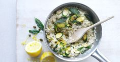 Courgette risotto with crisp capers and sage