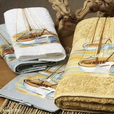 Chesapeake towels by Anali.  Love the boats!