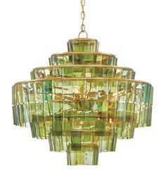 Currey & Company Sommelier Recycled Wine Bottle Chandelier.