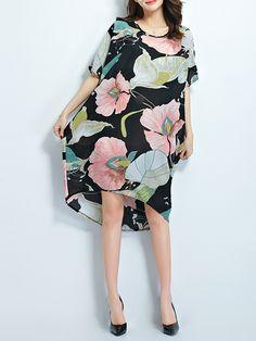 Floral Batwing Designed Boat Neck Plus-size-shift-dress