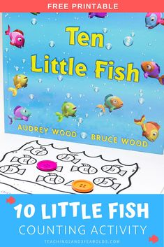 This fish counting activity for preschool builds simple math skills and can be done in a variety of ways. A fun addition to your summer or ocean theme! #fish #ocean #counting #literacy #book #circletime #centers #printable #rhyming #activity #toddler #preschool #2yearolds #3yearolds #teaching2and3yearolds Ocean Activities, Counting Activities, Literacy Activities, Preschool Activities, Number Activities, Rhyming Preschool, Numbers Preschool, Free Preschool, Toddler Preschool