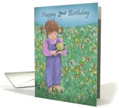 Happy 2nd Birthday with little girl holding flowers in field card