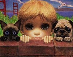 MARGARET KEANE (Peggy Doris Hawkins; USA, 1927) #PinturaContemporánea #60s / Es una retratista que pinta principalmente al óleo mujeres, niños y animales domésticos. Su trabajo es reconocido por los grandes ojos de sus personajes (...) Fuente: Wikipedia / https://lasmilhistoriasdelarte.wordpress.com/