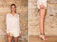 Short de crochê off-white (noite) - Verão 2013