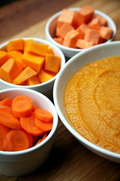 Crock Pot Squash, Sweet Potato, Carrot, and White Bean Soup -- just 8 ingredients, dump-and-go, and you'll come home to a nice warm dinner. Use 2 cans of cannellini beans to serve 6.