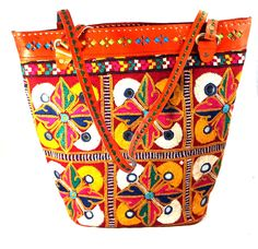 Leather Embroidery Shopping Bag www.styleincraft.com #leatherBag #HandmadeBag #Embroidery #ShoppingBag