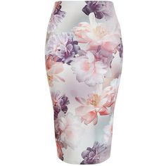 White Floral Print Pencil Skirt ($26) ❤ liked on Polyvore featuring skirts, elastic waist skirt, mid-calf skirt, pencil skirt, midi skirt and white knee length pencil skirt