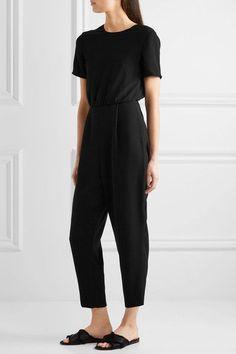 Max Mara   Tie-Back crepe jumpsuit in black