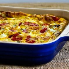 Love this Roasted Green Bell Pepper and Roasted Tomato Breakfast Casserole with Feta and Oregano; all my favorite Greek flavors in a breakfast casserole!  [from KalynsKitchen.com] #DeliciouslyHealthyLowCarb