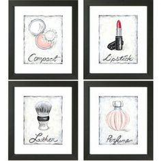 Make-Up Wall Art..... this would be cute in the bathroom