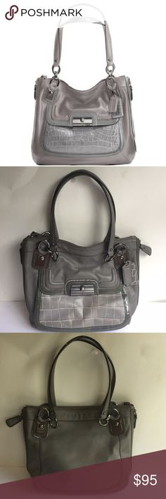 Coach Kristin Spectator Leather Zip Tote Coach Kristin Spectator Leather Zip North South Tote Bag Grey Multi. In great condition comes with dust bag and leather cleaning instructions!! Only has some minor flaws with some marks in front and back and signs of wear on the handles ends and on the back. Handles chains have signs of wear and the handle comes with two Coach tags inside is mostly clean with some marks. Front pocket has metal closure with some signs of wear. Signs of wear on leather…