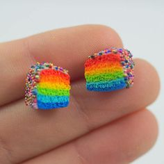 Rainbow cake earrings mini rainbow cake modeling cake