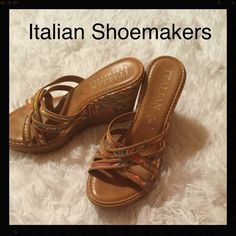 ITALIAN SHOEMAKERS sandal Very cute sandal, made in Italy, very colorful, I inch platform, 4 inch wedge heel Italian shoemakers Shoes Wedges