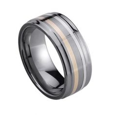 Men's 14k gold and silver inlaid tungsten ring  Price:$459.00