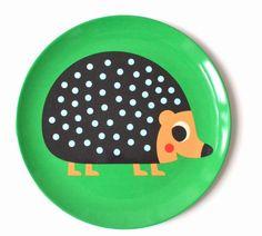 Original Melamine plate #Hedgehog by #Ingela P #Arrhenius from www.kidsdinge.com https://www.facebook.com/pages/kidsdingecom-Origineel-speelgoed-hebbedingen-voor-hippe-kids/160122710686387?sk=wall