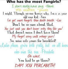 1.Percabeth 2.Leo 3.Nico 4.Everybody Else