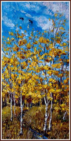 """Autumn"" original oil painting by Olga Rtishcheva $170 (small: 15 x 7.9 x 0.2 in)"