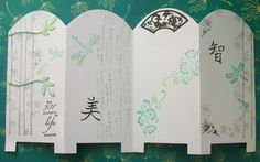 handmade card ... Asian screen design ... like the rounded tops ... soft gray and aqua stamping in Asian theme ... bamboo, flowers, dragon flies ....