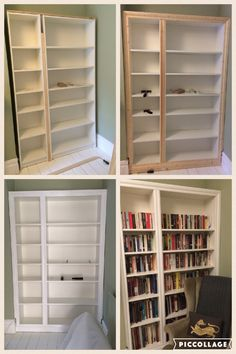 IKEA hack! Billy bookcase modified to look like built in alcove shelving