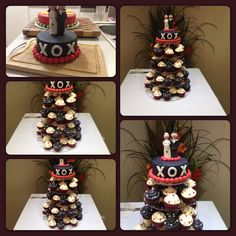 Black, White and Red Themed Wedding Cupcakes