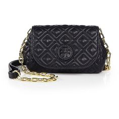Tory Burch Marion Quilted Small Crossbody Bag ($260) ❤ liked on Polyvore featuring bags, handbags, shoulder bags, apparel & accessories, black, black leather purse, leather handbags, black crossbody purse, crossbody purse and leather crossbody purse