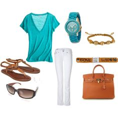 Absolutely love turquoise and white for summer. Add a few bracelets, cute sunglasses and sandals.