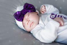 Purple bow white Newborn Girl hat.newborn baby hat.purple newborn hat...new baby…