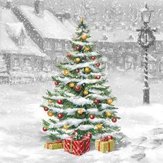 Decoupage Paper Napkins Christmas Tree Paper Napkins Gifts Presents Vintage Winter Scene Paper Napkin Collage Supplies Mixed Media Project by MyDaydreamingHeart on Etsy Winter Christmas, Vintage Christmas, Christmas Time, Christmas Cards, Vintage Winter, Decorative Paper Napkins, Paper Napkins For Decoupage, Christmas Decoupage, Christmas Napkins