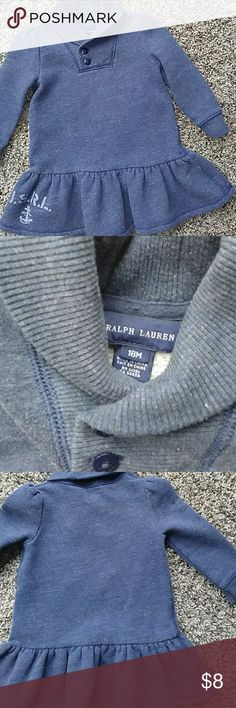 Ralph Lauren girl dress 18m Gently used navy sweatshirt material dress.  Wear and slight pilling from use but still lots of life left.  No stains or holes.  No bloomers. Ralph Lauren Dresses