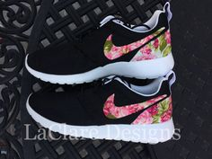 Floral Nike Roshe Run Black by LaClareDesigns by Bridgette Cobena on Etsy, $145.00