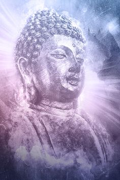 Universal Buddha Art. Rays of enlightenment burst behind Buddha. Buddha in…