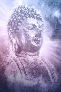 Universal Buddha Art. Rays of enlightenment burst behind Buddha. Buddha in…