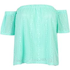 Mint Blue Off Shoulder Mesh Blouse (910 DOP) ❤ liked on Polyvore featuring tops, blouses, short tops, blue off shoulder top, mesh blouse, woven top and stretchy tops
