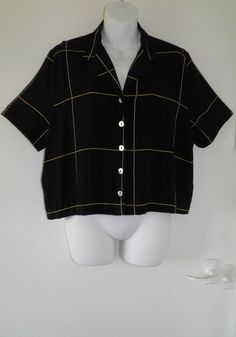 VTG 90s WALLIS Yellow Checked Oversized Blouse Crop Top Womens L Festival Grunge £10.50