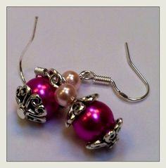 Swarovski Pearl Dangle Earrings with Pale by YarnButtonBowtique