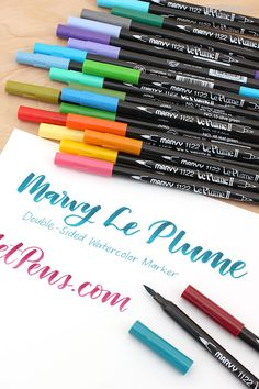 Marvy Le Plume Markers feature the popular Marvy Le Pen fine tip on one side, and a flexible brush tip on the other side.