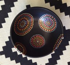 Hand Painted Polka Dotted Dots Wood Bowl by #ThePaintedCabeza