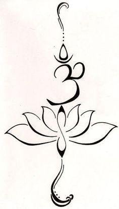 """Un loto para representar un nuevo comienzo, o un momento difícil en la vida que ha sido superado y el símbolo de """"Hum"""" en el mantra budista para representar el amor, la bondad y la protección ... este símbolo también se dice para purificar el odio y la ira."""