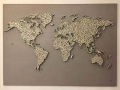 Small world map string art ip sanat sanat ve dnya haritalar sciox Gallery