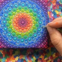 Its the start of a new week! Im starting it off on a positive note- painting rainbows! 🌈 reminder- take 20 off everything in my Etsy… Mandala Design, Mandala Art, Mandala Canvas, Mandalas Painting, Mandalas Drawing, Mandala Painted Rocks, Mandala Rocks, Dot Art Painting, Stone Painting