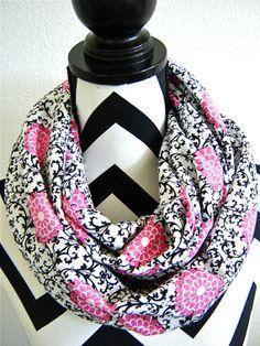 Scroll and Flower Jersey Knit Infinity Scarf by SewBirdiful, $20.99