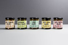 Olive packaging designed by Salad Creative for UK based Mediterranean delicacy producer, importer and wholesaler Silver and Green.