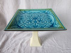 retro blue and green upcycled cake stand