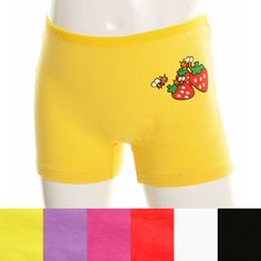 Girls Cotton Spandex Strawberry Bee Boxers